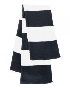 Navy/ White Rugby-Striped Knit Scarf