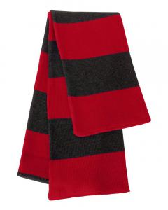Red/ Charcoal Rugby-Striped Knit Scarf