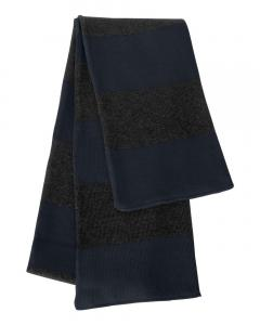 Navy/ Charcoal Rugby-Striped Knit Scarf