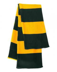 Forest/ Gold Rugby-Striped Knit Scarf