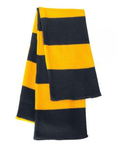 Navy/ Gold Rugby-Striped Knit Scarf