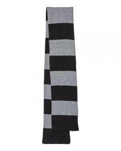 Heather Black/ Heather Grey Rugby-Striped Knit Scarf