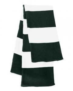 Forest/ White Rugby-Striped Knit Scarf