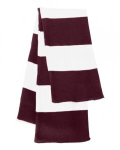 Maroon/ White Rugby-Striped Knit Scarf