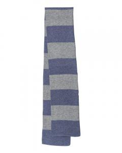 Heather Navy/ Heather Grey Rugby-Striped Knit Scarf