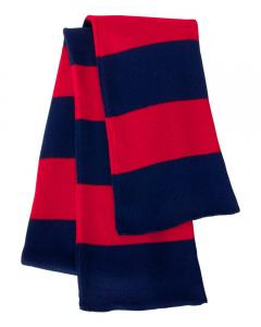 Navy/ Red Rugby-Striped Knit Scarf