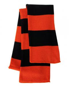 Orange/ Black Rugby-Striped Knit Scarf