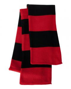 Red/ Black Rugby-Striped Knit Scarf