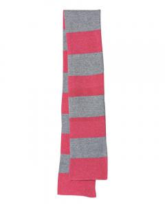 Heather Red/ Heather Grey Rugby-Striped Knit Scarf