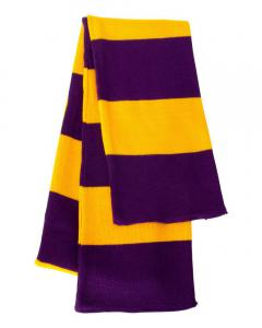 Purple/ Gold Rugby-Striped Knit Scarf