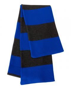 Royal/ Charcoal Rugby-Striped Knit Scarf