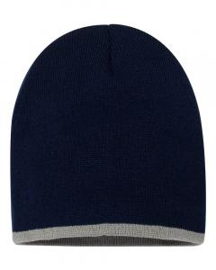 "Navy/ Grey 8"" Bottom-Striped Knit Beanie"