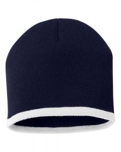 "Navy/ White 8"" Bottom-Striped Knit Beanie"