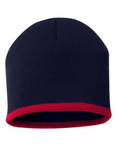 "Navy/ Red 8"" Bottom-Striped Knit Beanie"