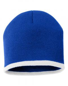 "Royal/ White 8"" Bottom-Striped Knit Beanie"