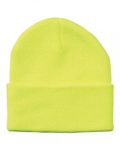 "Neon Yellow 12"" Solid Knit Beanie"
