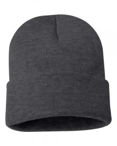 "Heather Charcoal 12"" Solid Knit Beanie"