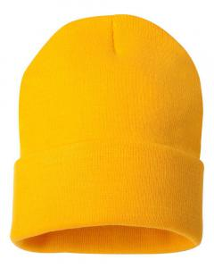 "Gold 12"" Solid Knit Beanie"