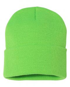 "Neon Green 12"" Solid Knit Beanie"
