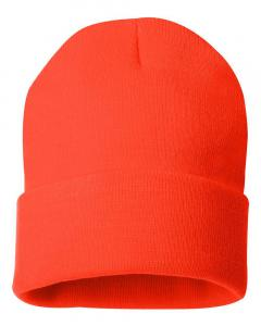 "Blaze Orange 12"" Solid Knit Beanie"