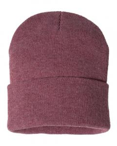 "Heather Cardinal 12"" Solid Knit Beanie"