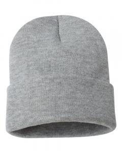 "Heather Grey 12"" Solid Knit Beanie"