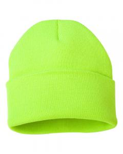 "Safety Yellow 12"" Solid Knit Beanie"