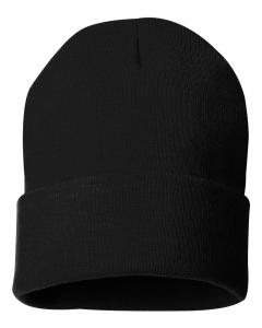 "Black 12"" Solid Knit Beanie"