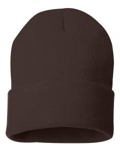 "Brown 12"" Solid Knit Beanie"
