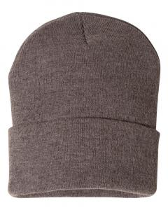"Heather Brown 12"" Solid Knit Beanie"
