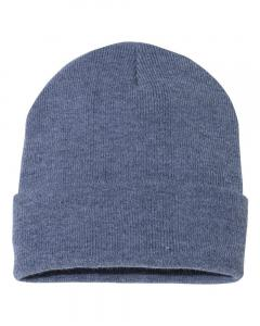 "Heather Navy 12"" Solid Knit Beanie"