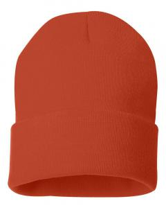 "Orange 12"" Solid Knit Beanie"