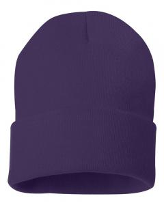 "Purple 12"" Solid Knit Beanie"
