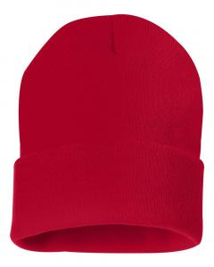 "Red 12"" Solid Knit Beanie"