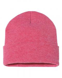 "Heather Red 12"" Solid Knit Beanie"
