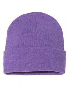 "Heather Purple 12"" Solid Knit Beanie"