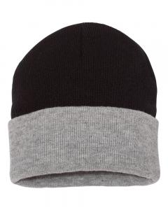 "Black/ Heather 12"" Knit Beanie"