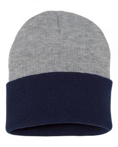 "Heather/ Navy 12"" Knit Beanie"