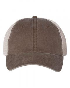 Brown/ Stone Unisex Pigment-Dyed Trucker Cap