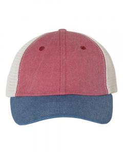 Cardinal/ Royal/ Stone Unisex Pigment-Dyed Trucker Cap