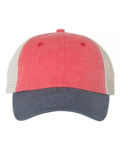 Red/ Navy/ Stone Unisex Pigment-Dyed Trucker Cap