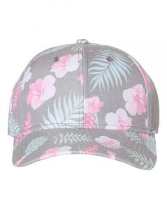 Grey/ Pink Tropical Print Cap