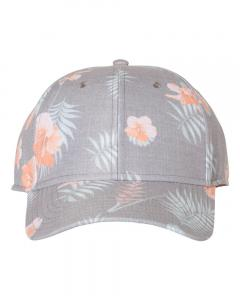 Grey/ Orange Tropical Print Cap