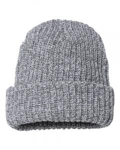 "Grey/ White Speckled 12"" Chunky Knit Beanie"