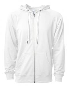 White Unisex Lightweight Loopback Terry Zip Hood