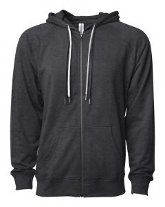 Charcoal Heather Unisex Lightweight Loopback Terry Zip Hood