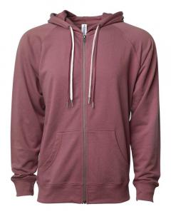 Port Unisex Lightweight Loopback Terry Zip Hood