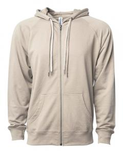 Sand Unisex Lightweight Loopback Terry Zip Hood