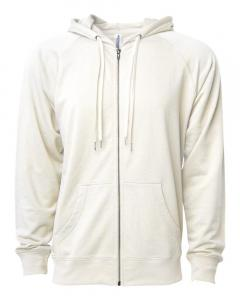 Bone Unisex Lightweight Loopback Terry Zip Hood