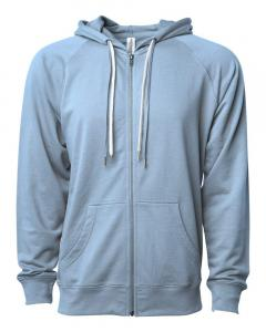 Misty Blue Unisex Lightweight Loopback Terry Zip Hood